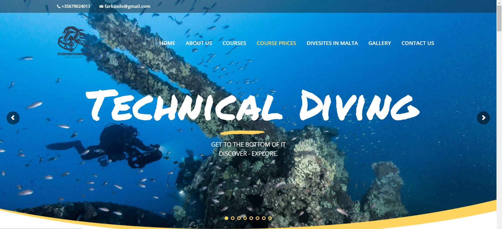 TdT screenshot website for a dive instructor